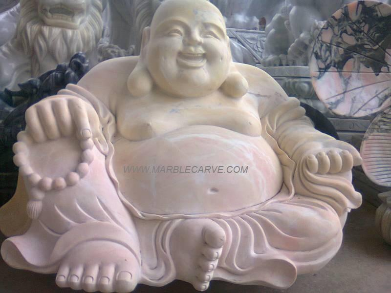 marble happy Buddha carving sculpture