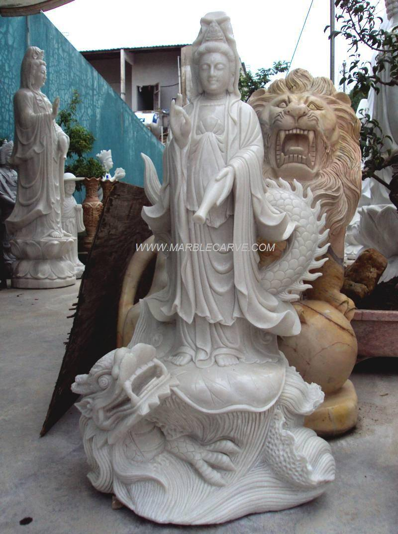 marble KWanyin dragon carving sculpture photo image