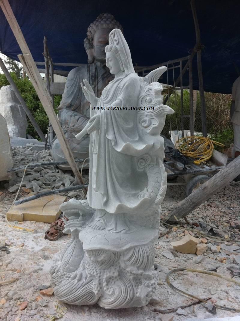 marble Kwanyin buddha carving sculpture photo image