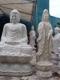 Marble Kwanyin Statue carving Sculpture Garden carving photo image