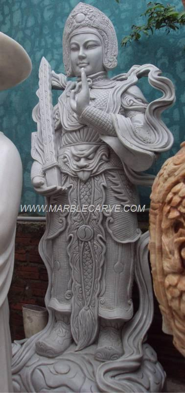 Warrior Kwan marble carving sculpture