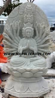Marble thousand hand Kwan Yin carving Sculpture Garden carving photo image