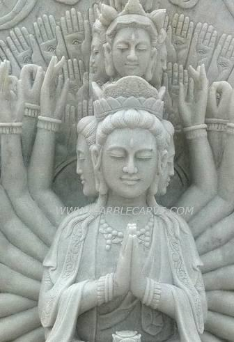 thousand hand Kwan Yin carving Sculpture marble Garden carving