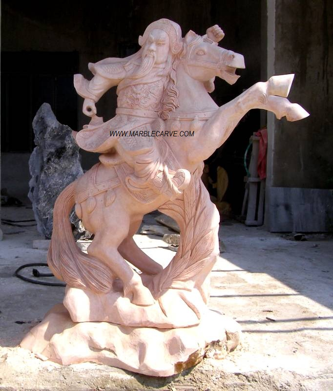 Marble Warrior Kwan and Horse Statue carving sculpture