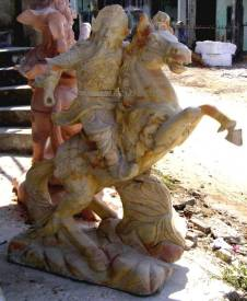 marble warrior horse carving sculpture horse and Warrior