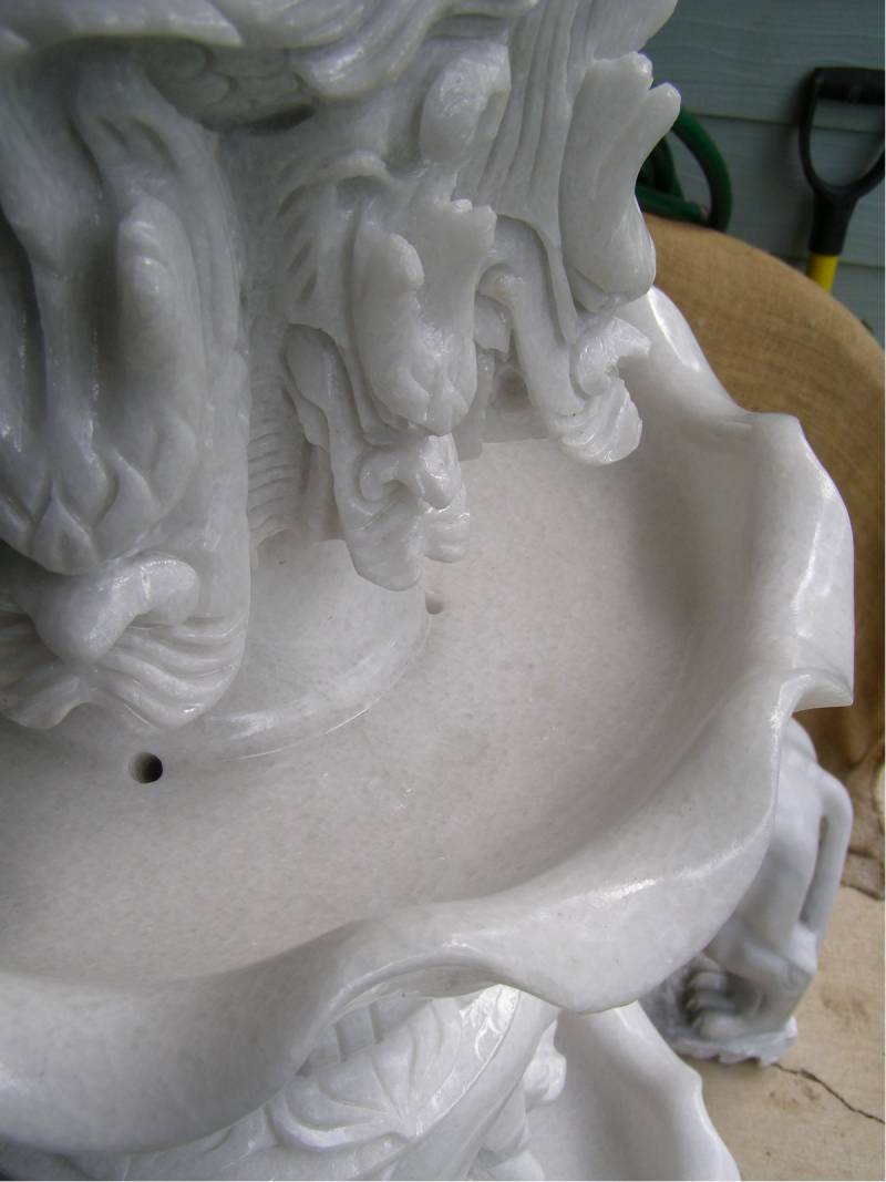 marble dragon and dolphins water feature fountain