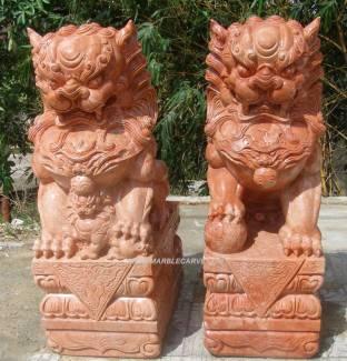 Terracotta Color marble Fudog carving sculpture