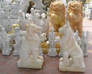 Marble Dogs Statue Sculpture statue carving