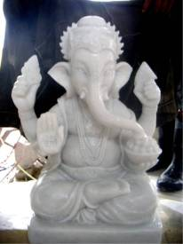 Marble Ganesh Elephant carving Sculpture Garden carving photo image