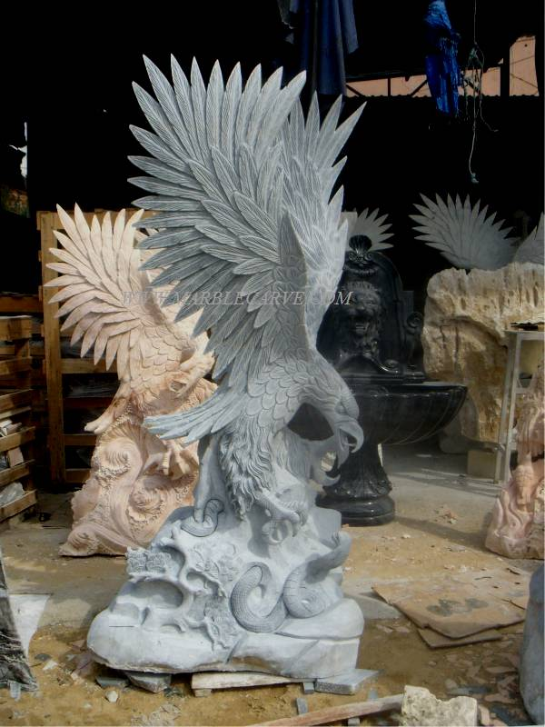 #VN0365 Eagle Fighting Cobra 180cm Tall. Marble Eagle Garden Sculpture  Carving This Wonderful Marble Art Sculpture Garden Carving Can Have It Made  Again In ...