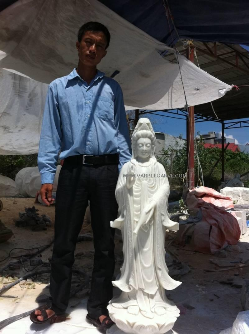 marble guan yin carving sculpture