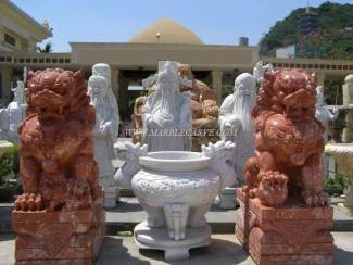 Marble Fu Dogs Statue carving Sculpture Garden carving photo image