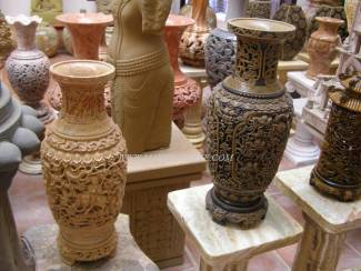 Marble Vase carving Sculpture Garden carving photo image