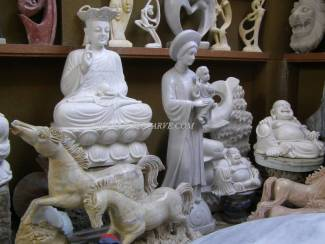 Marble Buddha carving Sculpture Garden carving photo image