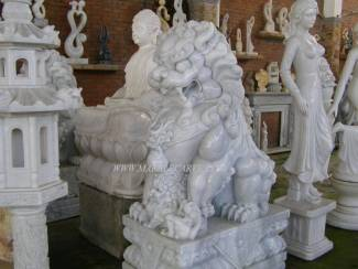Marble Fu dog Statue carving Sculpture Garden carving photo image