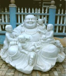 Marble Happy Buddha carving Sculpture Garden carving photo image