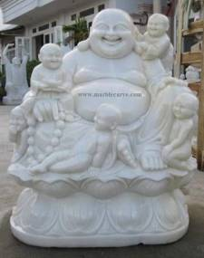 happy Buddha with kids Statue