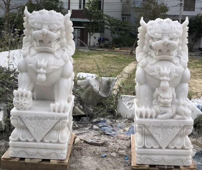 marble fu dog statue sculpture