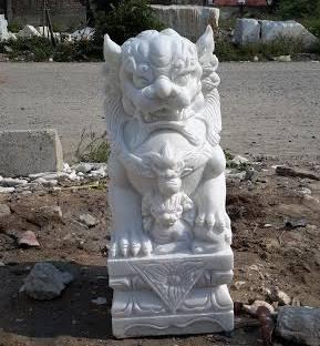 white marble 60cm Fudog carving sculpture