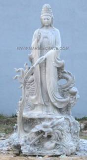 Kwanyin and Dragon Statue, Marble Guan Yin carving Sculpture Garden carving photo image