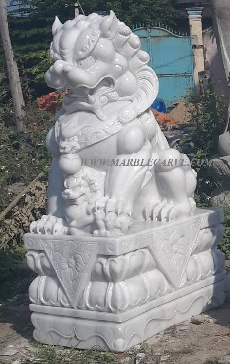 marble fudogs statue sculpture