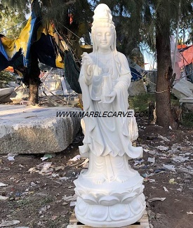 Kwanyin Statue, Marble Guan Yin carving Sculpture Garden carving photo image