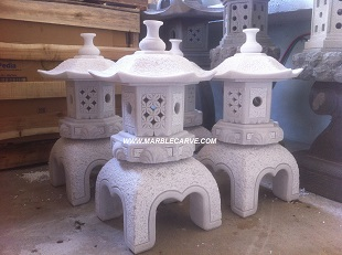 marble lantern carving sculpture horse and Warrior