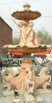 Marble Horses statue Fountain Sculpture Garden Carving With Pool and Horses and children photo image