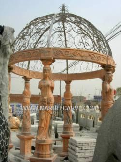 Marble Pavilion Sculpture Statue Garden Carving Gazebo With Statues photo image