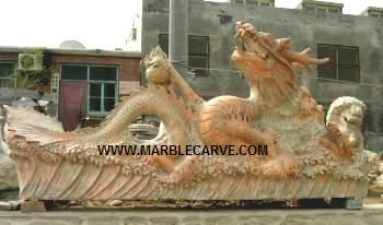 Marble Dragon statue carving Fountain Sculpture Garden carving photo image