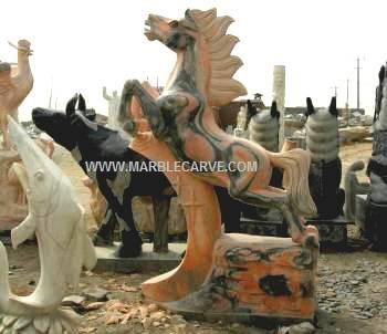 Marble Horse Statue carving Sculpture Garden carvings photo image