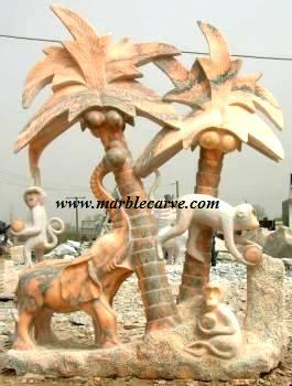 Marble Elephant carving and Monkey Sculpture Garden carving photo image