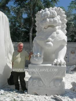 Marble Fu dog Carving Sculpture Garden Foodog carvings photo image