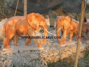 Marble Elephants carving Sculpture Garden carving photo image