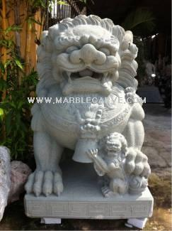 marble fudogs statue carving sculpture