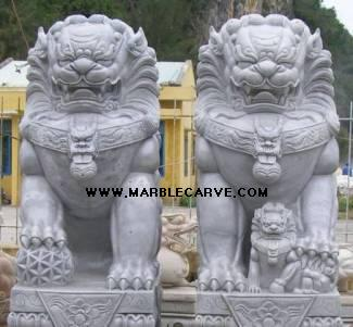 marble fu dogs statue carving sculpture