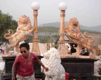 marble lion carving sculpture pair of hand sculpted Lions holding light photo image