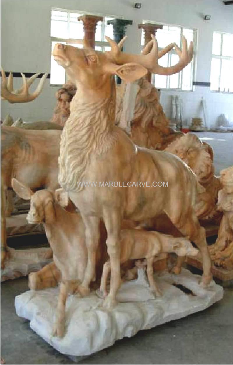 Marble elk sculpture garden carving qy