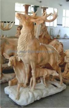 marble elk statue carving